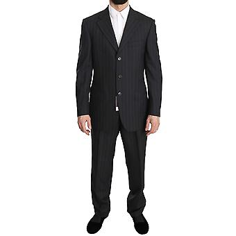 Z ZEGNA Gray Striped Two Piece 3 Button Wool Suit -- KOS1269616