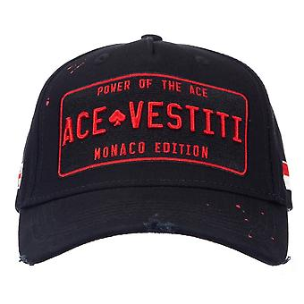 Ace Vestiti - France | Nuace-22 Paint Splatter Plaqued Baseball Cap - Noir/rouge