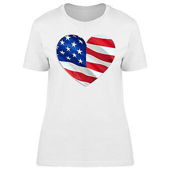 3d Heart Flag Design U.s.a. Tee Women's -Image by Shutterstock