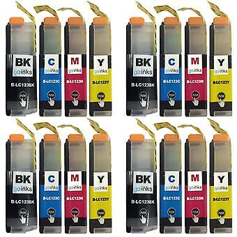 4 tintapatronkészlet a Brother LC123 kompatibilis/nem OEM-fájljainak go inkekkel való helyettesítésére (16 festék)
