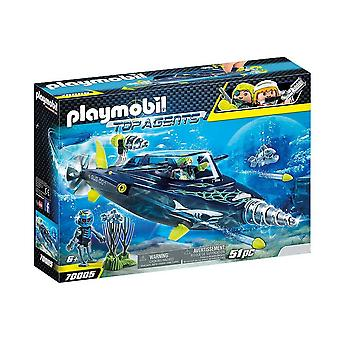 playmobil 70005 top agents team s.h.a.r.k drill destroyer playset 51pcs  for