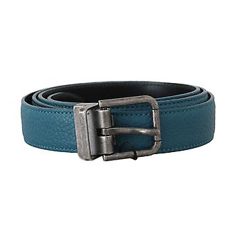 Dolce & Gabbana Blue Deer Skin Gray Brushed Buckle Belt