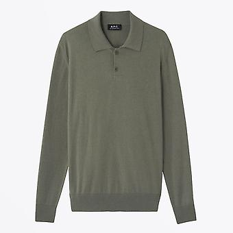 A.P.C.  - Aymar - Knitted Polo Shirt - Khaki Green