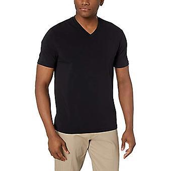 BUTTONED DOWN Men's Short-Sleeve V-Neck Supima Cotton Stretch T-Shirt, Black,...