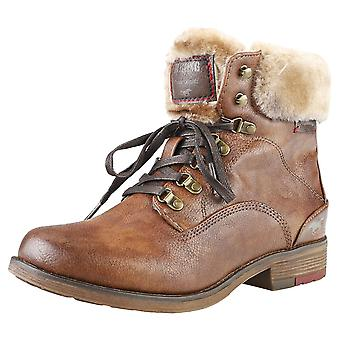 Mustang Lace Up Warm Lining Ankle Womens Ankle Boots in Chestnut