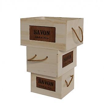 Rebecca Möbel 3 weiße Korb Boxen Holz Griffe Badestil Retro-Stil 19x35x28