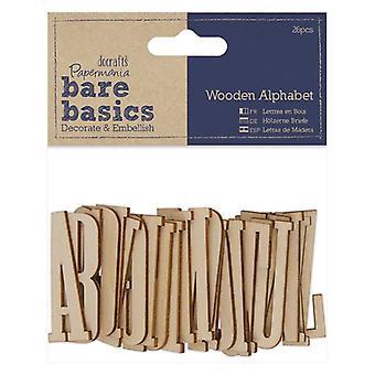 Papermania Bare Basics Wooden Alphabet (26pcs) (PMA 174656)