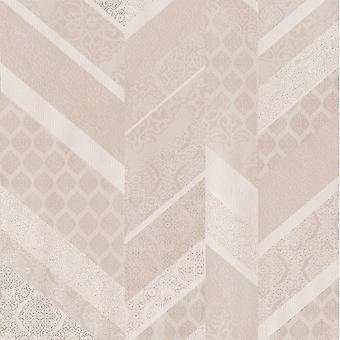 P&S International Stripe Ornament Metallic Textured Geometric Detail Baby Pink Wallpaper