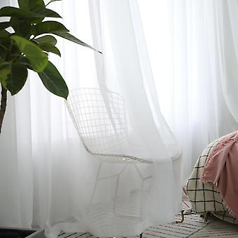 ديكور المنزل الحديثة الصلبة الأبيض شفافة الستائر تول