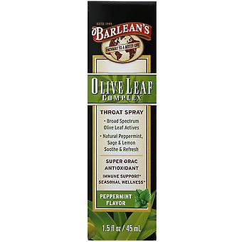 Barlean's, Olive Leaf Complex, Throat Spray, Peppermint Flavor, 1.5 fl oz (45 ml