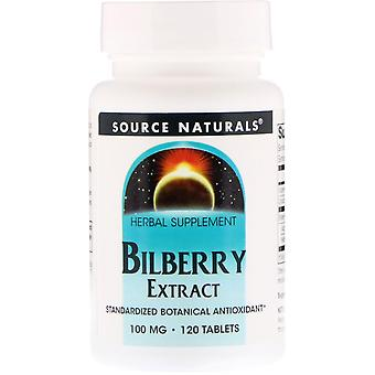 Source Naturals, Bilberry Extract, 100 mg, 120 Tablets