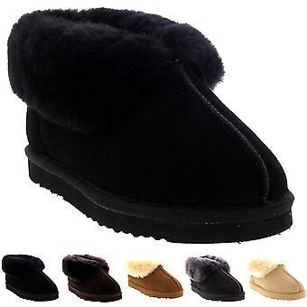 Womens Real Suede Australian Sheepskin Fur Lined Warm House Slipper Boots 3-10