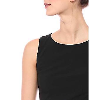 Brand - Lark & Ro Women's Sleeveless Crew Neck Ruffle Hem Sheath Dress, Black, 12