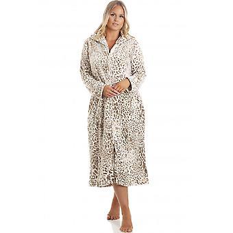 Camille Womens Supersoft Fleece Animal Print Lounger Mink