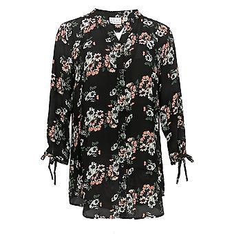 Coleção Joan Rivers Classics Women's Top Floral Tunic Black A310924