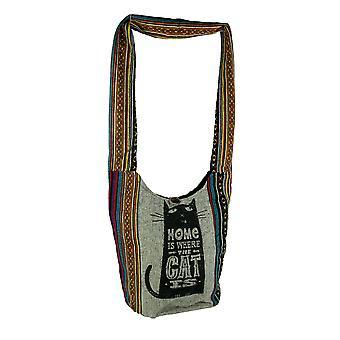 Le chat est maison Stripe Tribal Boho coton sac bandoulière