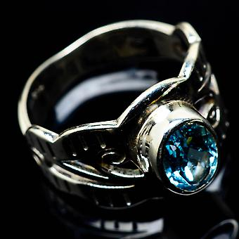 Blue Topaz Ring Size 7.25 (925 Sterling Silver)  - Handmade Boho Vintage Jewelry RING25031