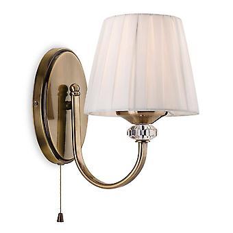 Firstlight Langham - 1 Lumière simple lumière intérieure (switched) laiton antique, nuance plissée de crème, E14