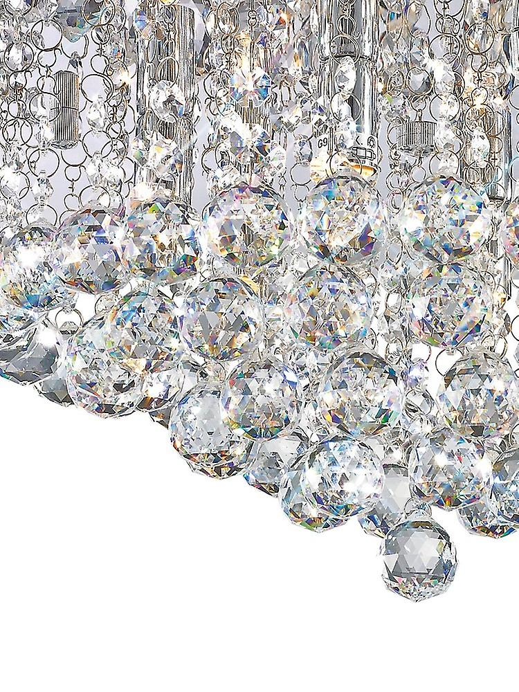 Flush Ceiling, 450mm Round, 6 Light G9 Polished Chrome, Crystal