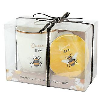 Something Different Queen Bee Ceramic Mug And Coaster Set