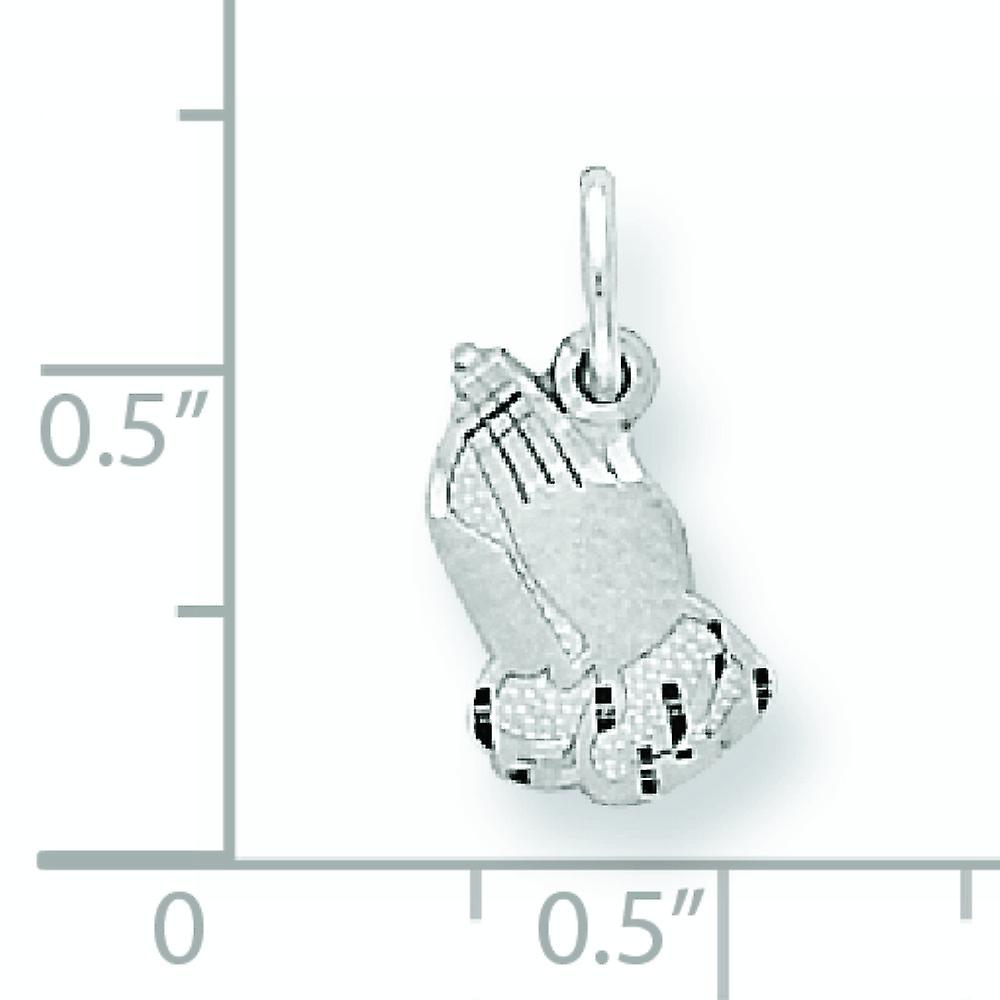 10k White Gold Solid Satin Sparkle Cut PRAYING HANDS Charm Pendant Necklace Jewelry Gifts for Women