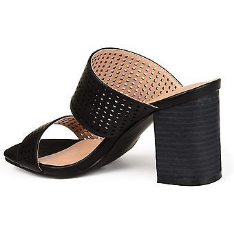 Brinley Co. Womens Santos Faux nahka laser-Cut Dual-hihna korko kengät