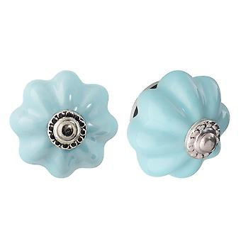 Nicola Spring Ceramic Cupboard Drawer Knobs - Solid Vintage Design - Blue - Pack of 6