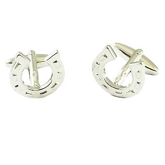 Ties Planet Silver Lucky Horseshoes Wedding Cufflinks
