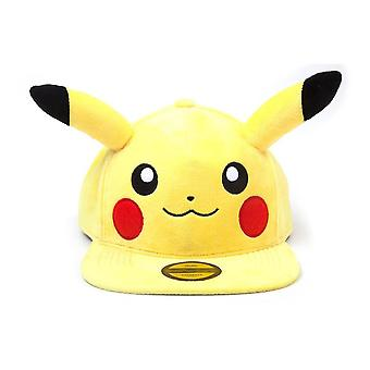 Pokemon Pikachu Plush with Ears Snapback Baseball Cap Unisex Yellow/Black