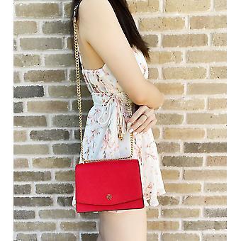 Tory burch emerson mini shoulder bag brilliant red saffiano leather