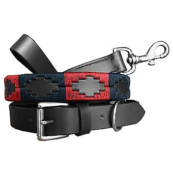 Carlos diaz genuine leather matching pair waxed embroidered polo dog collar and lead set cdplc31