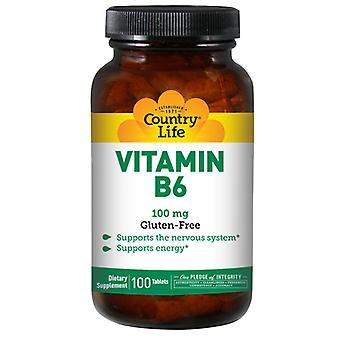 Country Life Vitamin B-6, 100 MG, 100 Tabs