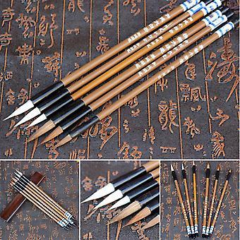 Pinceaux chinois d'écriture, bambou blanc de nuages, cheveux de Wolf's pour la calligraphie