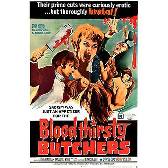 Blodtörstig slaktare oss affisch konst 1970 film affisch Masterprint