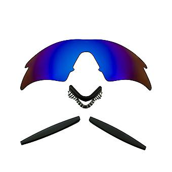 Polariserade ersättningslinser Kit för Oakley M Ram Svep Blå Spegel Svart Anti-Scratch Anti-Glare UV400 av SeekOptics