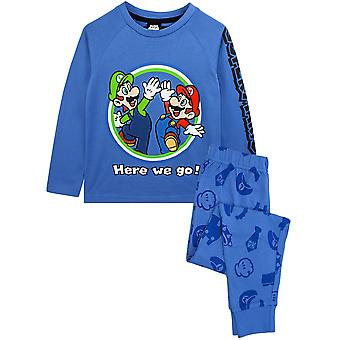 Super Mario Pyjamas Luigi Boys Long Sleeve Kids Blue T-Shirt & Trousers PJ Set