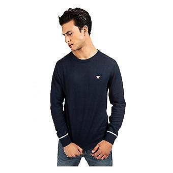 GUESS Crew Neck Wol Blend Sweater Navy Blue