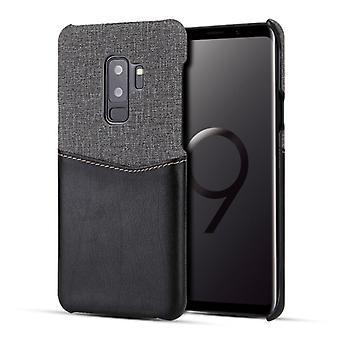 لS9 غالاكسي + PC + PU الربط حالة مع فتحات بطاقة (أسود)
