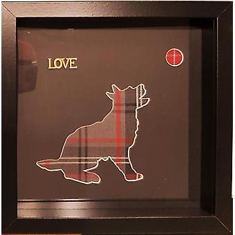 Framed Dog Tweed Fabric Red & Grey Love Black Mount Black Frame by Laura Ann Cards