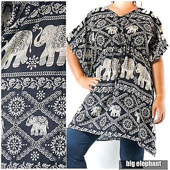 Boho Elephant Kaftan Shirt Short Dress