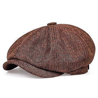 Kevään/syksyn ohut retrobarettihattu, Fashion Casual Unisex Wild -kahdeksankulmaiset hatut