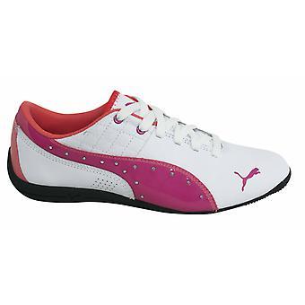 Puma Дрифт Cat 6 младших детей кружева белый розовый тренеров 305185 01 D94