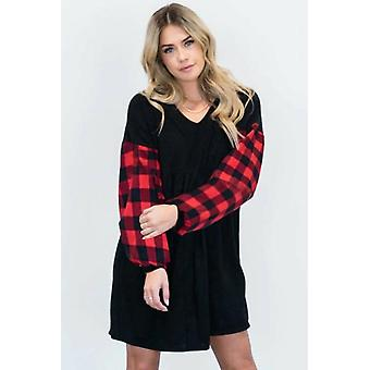 V Neck Plaid Sleeve Dress