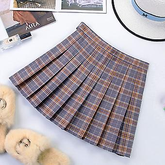 Short Korean Women Zipper High Waist School Plissé Plaid Sexy Mini Jupe