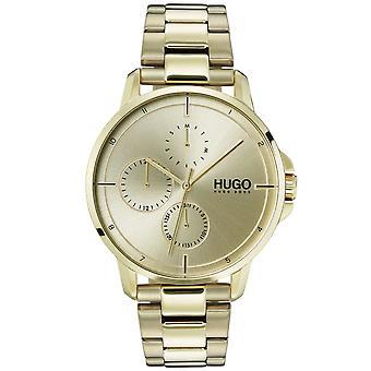 HUGO 1530026 Focus Gold Men's Inoxidável Relógio de Aço Inoxidável