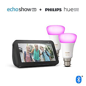 Echo show 5, black + philips hue white & colour ambiance smart bulb twin pack led (b22) | bluetooth