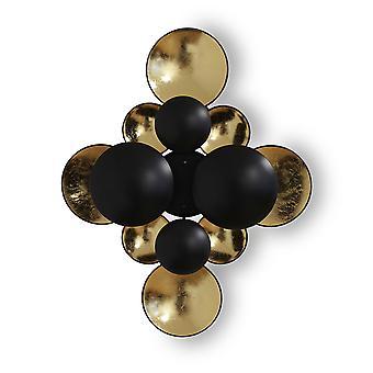 Lámpara de pared decoración de pared Mucircoli M negro + hoja de oro 2x E14 10925