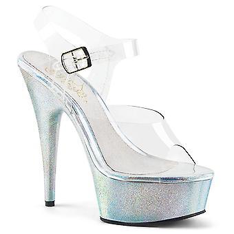 Pleaser zapatos de mujer-apos;s DELIGHT-608HG Clr/Slv Brillos Holográficos