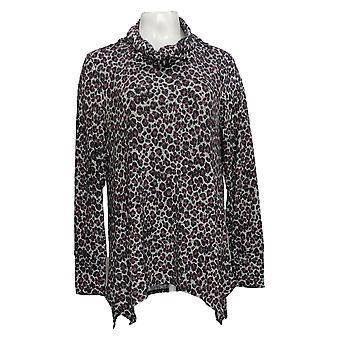 Soft & Cozy Women's Top Cowl Neck Tunic W/ Handkerchief Hem Purple 663-256