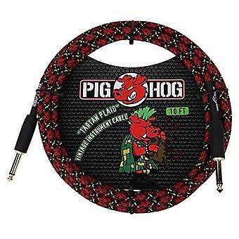 "Pig hog pch10pl 1/4"" to 1/4"" tartan plaid guitar instrument cable, 10 feet"